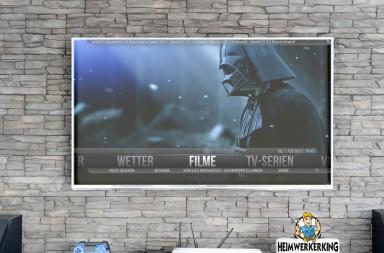 TV-Wand mit Steinverblender von Heimwerkerking