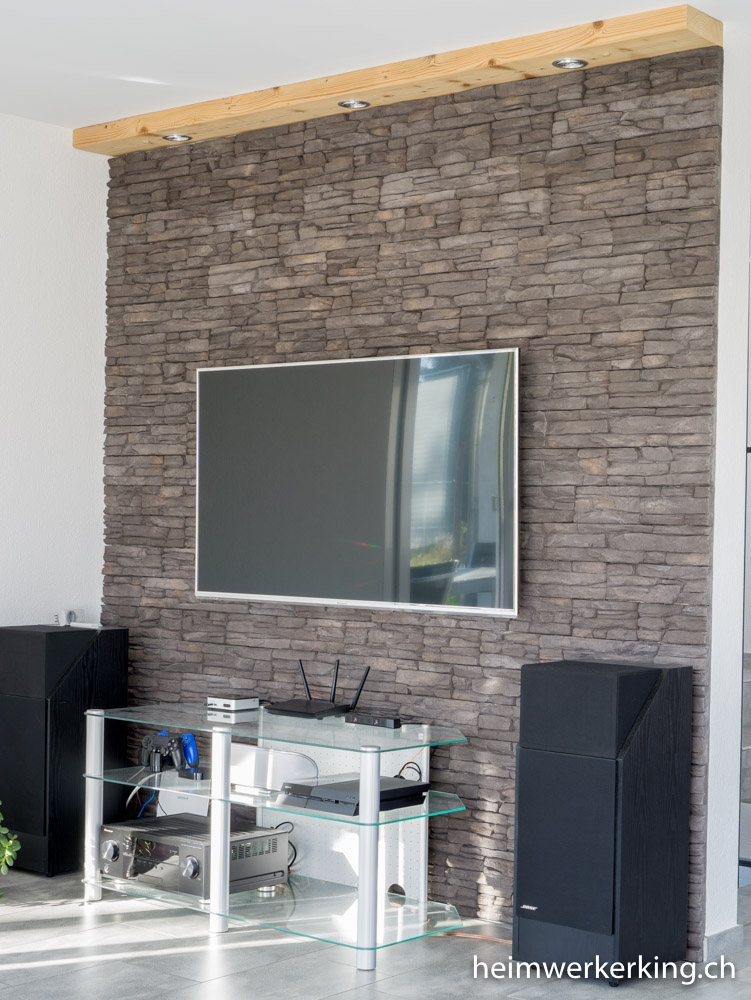 tv wand mit steinverblender ohne sichtbare kabel bauen. Black Bedroom Furniture Sets. Home Design Ideas