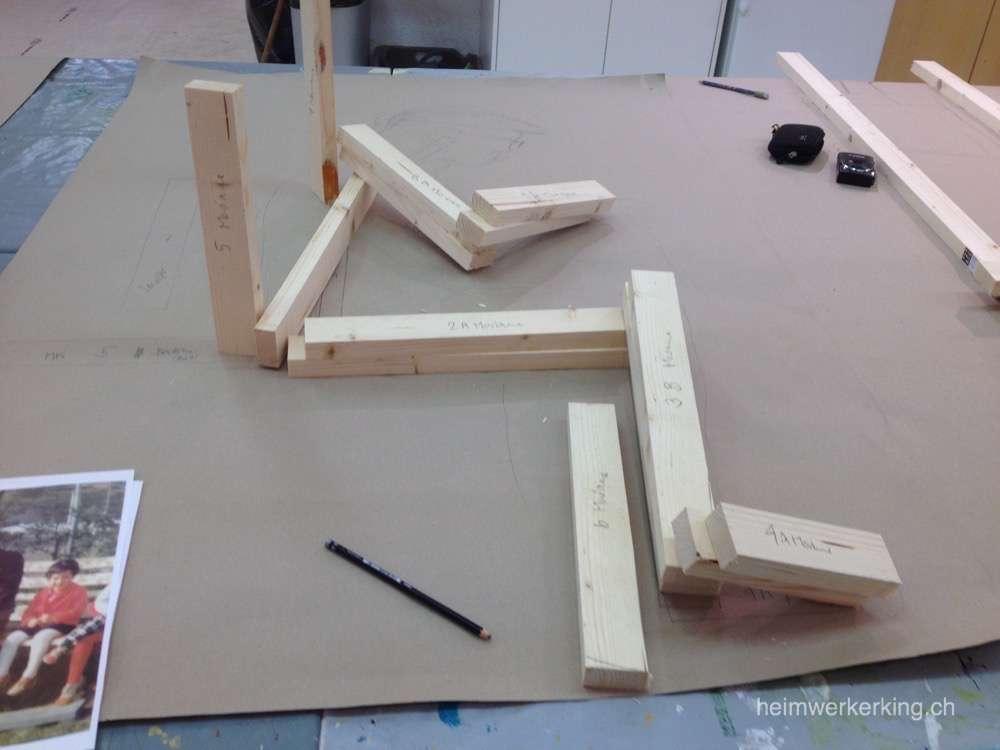 Die Holzlatten sind quasi das Skelett des Kleistermann