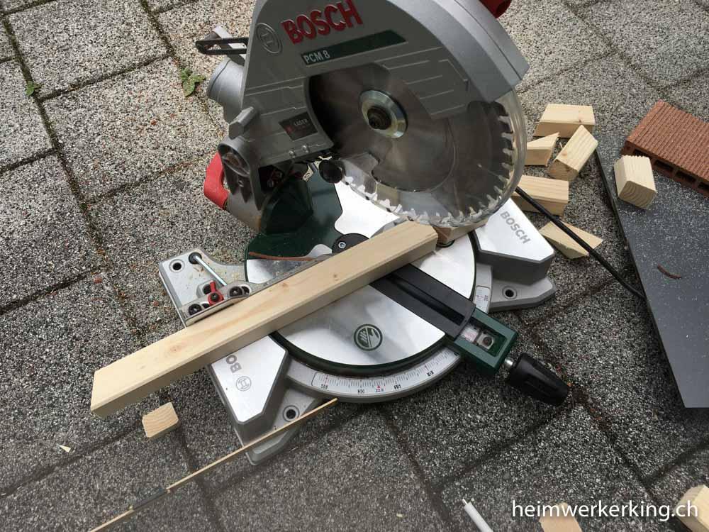 Dank der Bosch Gehrungssäge konnte ich passende Winkel schneiden