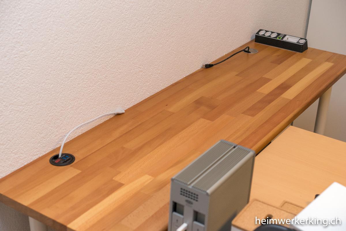 schreibtisch mit usb ladestation im eigenbau heimwerkerking. Black Bedroom Furniture Sets. Home Design Ideas
